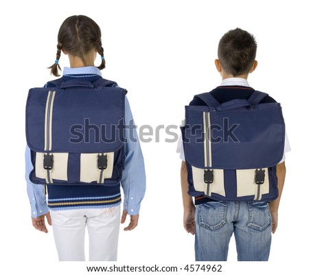 Boy and girl with big backpacks. White background, rear view