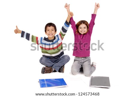 boy and girl with books isolated in white - stock photo