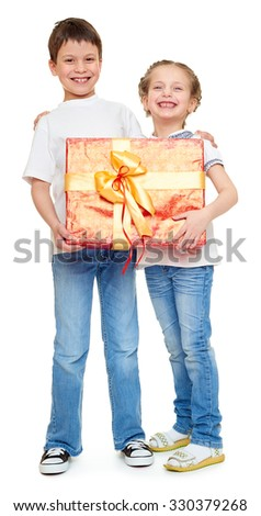 boy and girl with red gift box and golden bow - holiday object concept isolated - stock photo