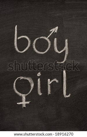 boy and girl words with gender symbols (mars, venus) handwritten with white chalk on blackboard