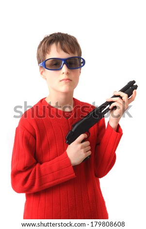 boy and gun isolated on the white background - stock photo