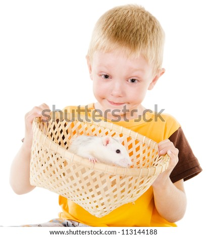 boy and mouse. isolated over white background