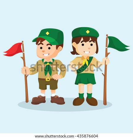 Boy and scout girl