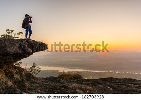 Boy and Sunrise scene
