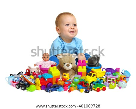 Boy and toys isolated on white background