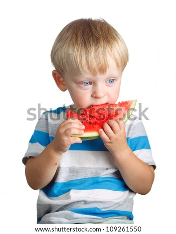 boy and watermelon isolated on white