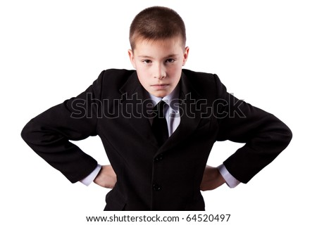 Boy angry, isolated on white - stock photo