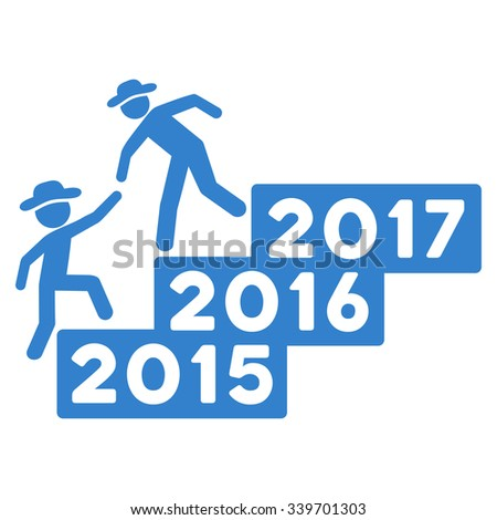 Boy Annual Help glyph icon. Style is flat symbol, cobalt color, rounded angles, white background.