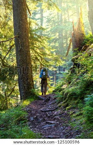 Boy backpacker in forest