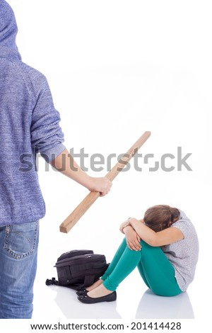 Boy beaten with wooden stick on a little girl, isolated on a white background - stock photo