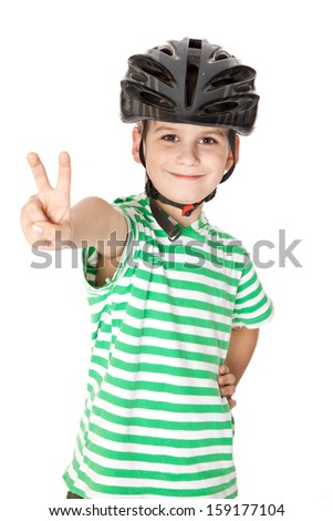 Boy bicyclist with helmet isolated on white - stock photo
