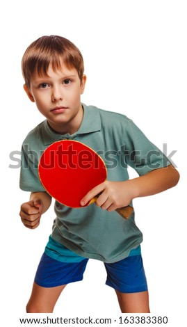boy blond ping pong man playing table tennis backhand takes topspin isolated on white background - stock photo