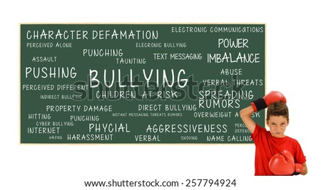Boy Boxing Gloves Blackboard with Bullying Children At Risk: Power Imbalance, Pushing, Cyber Bullying, Assault, Harassment, Hitting, Verbal Abuse, Property Damage, Spreading Rumors, Aggressiveness,  - stock photo