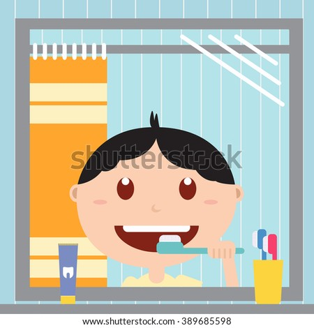 Boy brushing him teeth in front of a mirror in the bathroom. Happy baby with healthy teeth, toothpaste and toothbrush. Flat  illustrations. - stock photo