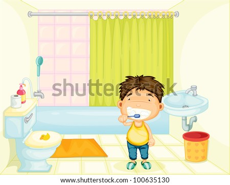 Boy brushing his teeth at home - EPS VECTOR format also available in my portfolio. - stock photo