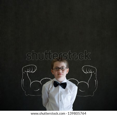 Boy businessman, salesman or teacher with chalk healthy strong arm muscles for success - stock photo