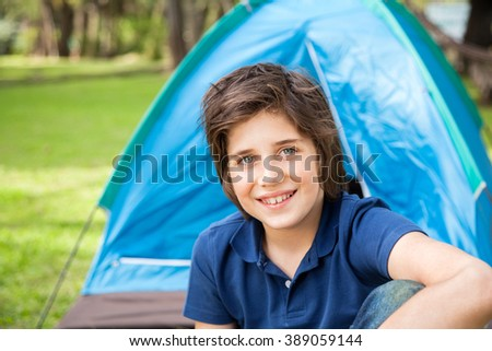 Boy Camping In Park - stock photo