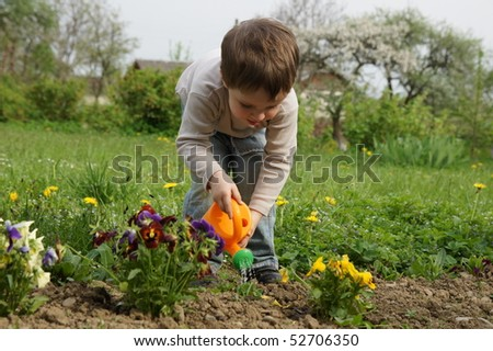 Boy carefully watered flowers on the lawn - stock photo