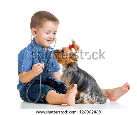 boy child examining dog puppy isolated on white background - stock photo