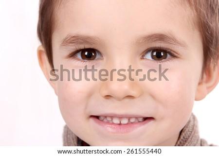 boy child portrait, closeup - stock photo