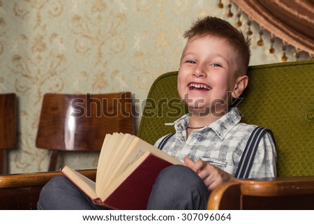 Boy Child Read Book, Children Education, Well Dressed Schoolboy on Gray background - stock photo