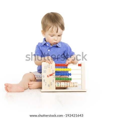 Boy child with abacus clock counting, smart little kid study lesson, education development