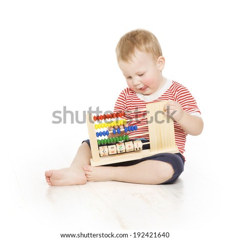 Boy child with abacus counting, smart little kid study lesson, education development  - stock photo