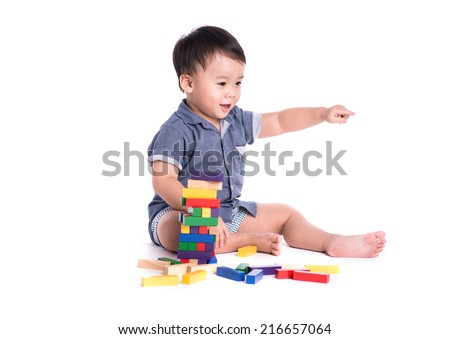 Boy child with toy blocks, smart little kid study lesson, education concept - stock photo