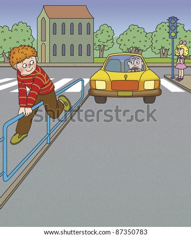 boy climbed over the fence, breaking the rules of the road - stock photo