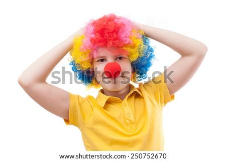 boy clown - stock photo