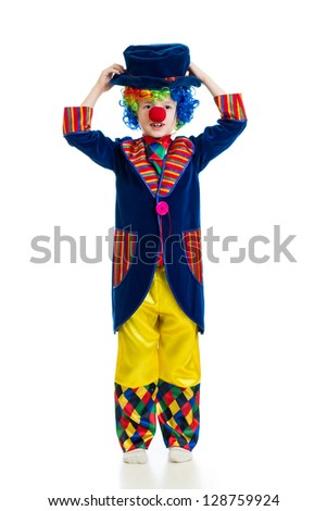 Boy clown over the white background - stock photo