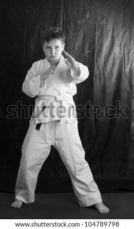Boy doing karate - stock photo
