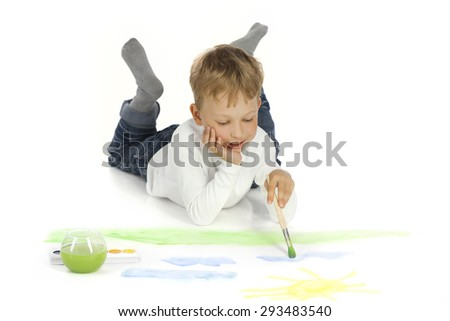 boy draw in home - stock photo