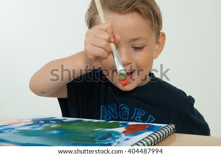 boy drawing summer - stock photo