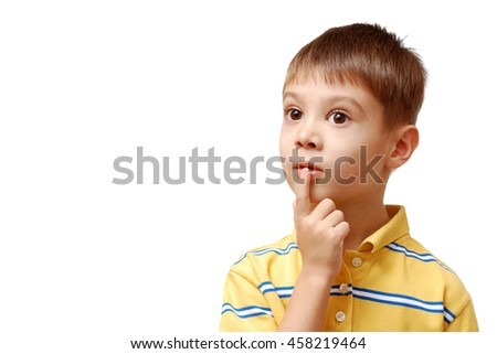 Boy dreaming isolated on white background