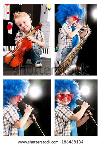 boy dreams of becoming a musician, a boy dressed like a rock star, holding a microphone, collection - stock photo