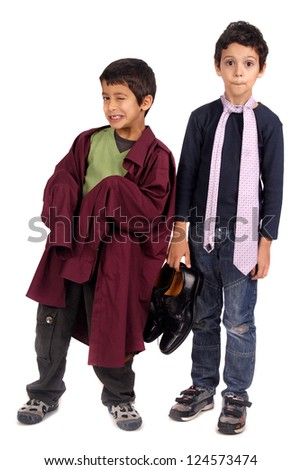 boy dressing father's suit