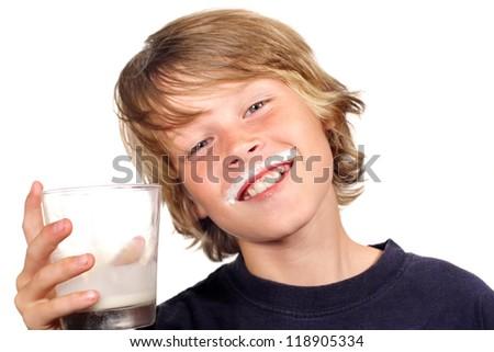 Boy Drinking Milk - stock photo