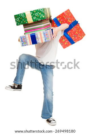 boy drops gift boxes - stock photo