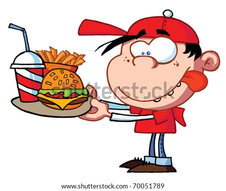 Boy Eating Fast Food - stock photo