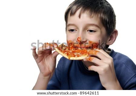Boy Eating Pizza - stock photo