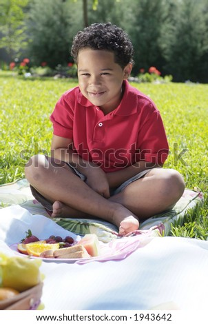 Boy eating sandwich at picnic - stock photo