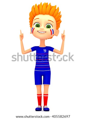 Boy footballer pointing at empty space. 3d render illustration. European Championship in France in 2016.