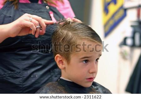 Boy Getting Haircut Stock Photo 2311622
