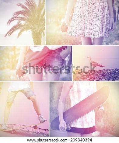 boy girl skateboard sea vintage photo retro style - stock photo
