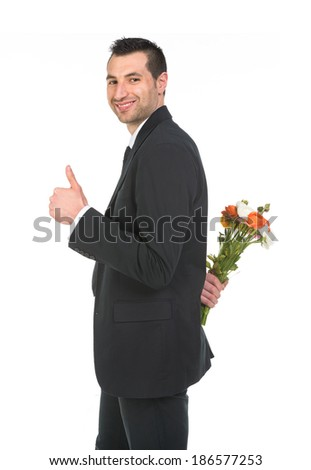 Boy gives bouquet of flowers