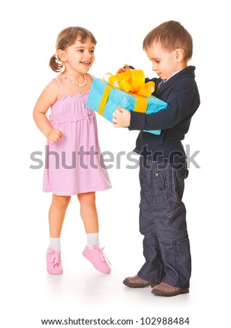 boy gives girl a gift, surrounded by a white background - stock photo