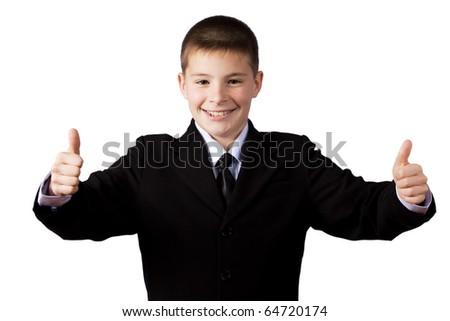 boy gives thumbs up, isolated on white - stock photo