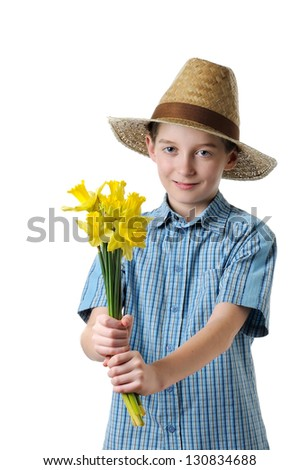 boy giving a daffodils- isolated - stock photo