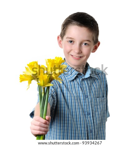 boy giving a narcissus- isolated